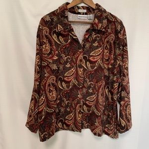 Apparenza brown paisley stretch button blouse